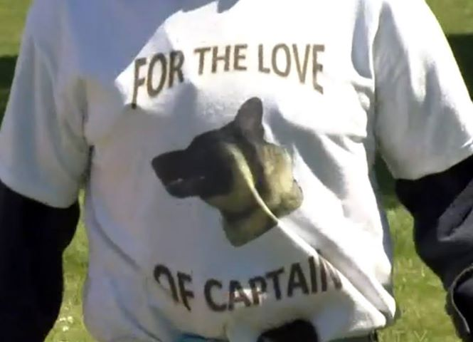 Supporter wearing a 'For the Love of Captain' t-shirt