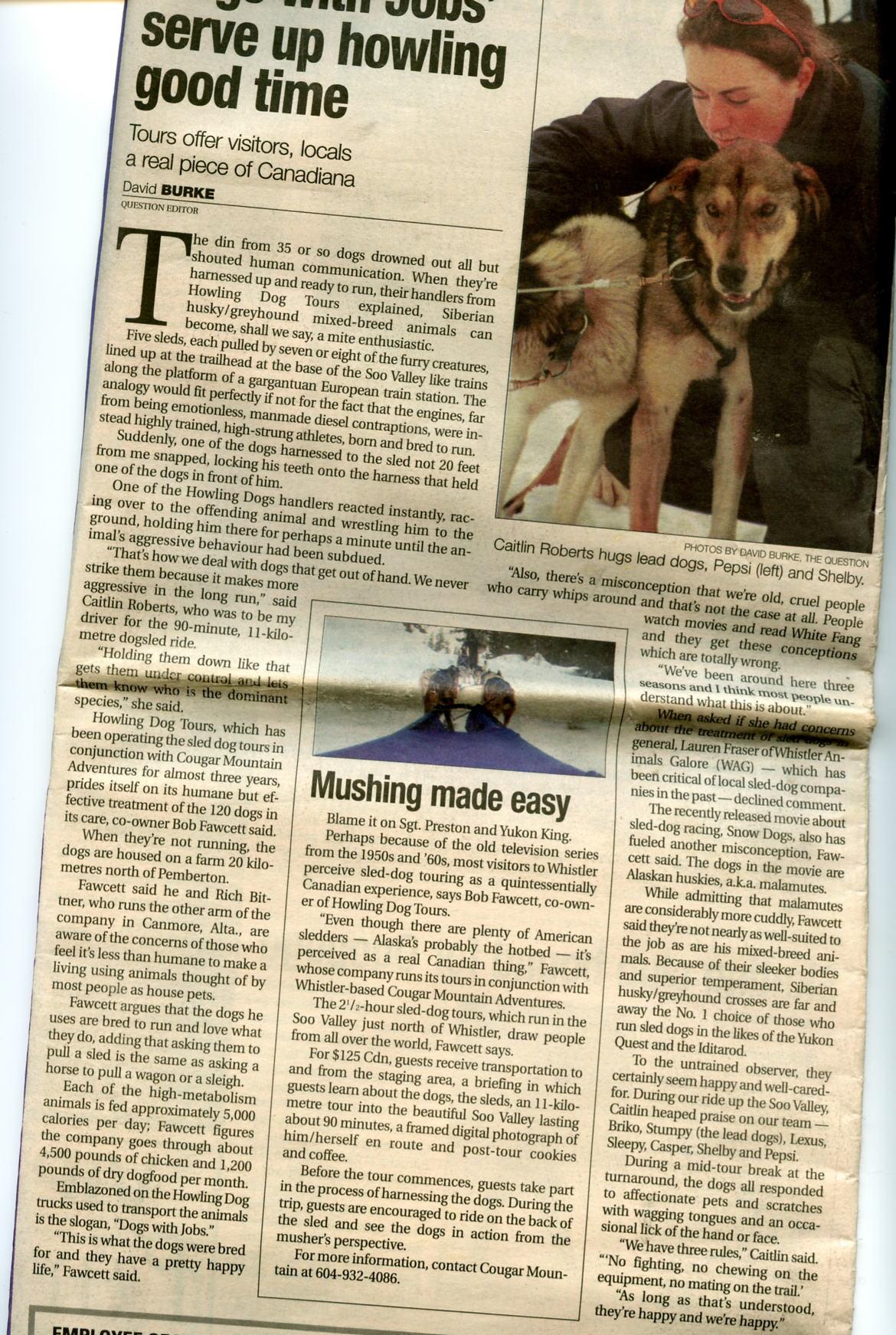 Animal Advocates Bc Whistler Sled Dogs Bob Fawcett And